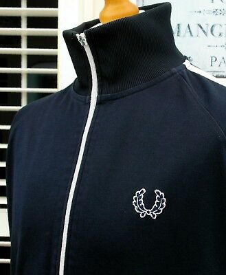 Fred Perry Navy Single Taped Track Jacket - L/XL - Ska Mod Scooter Casuals Skins