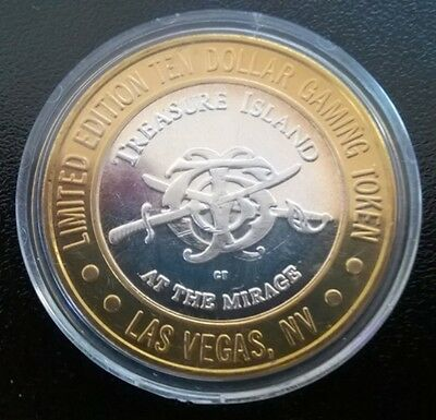 Limited Edition TEN DOLLAR .999 SILVER Gaming Coin Token From TREASURE ISLAND