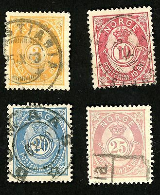1882-93 Norway Stamps Scott #38, 40, 44, 45 All:  Used, HR