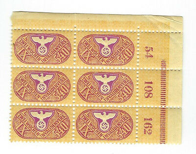 German -- Block of Six Disability Insurance Stamps