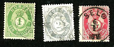 1872-75 Norway Stamps #16, 17, 18 (3)  All:  Used, HR