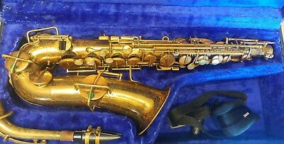 The Buescher True-Tone Alto Saxophone Sax in Playable Condition with Case & More