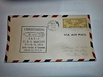 Cover of Christening: U.S.S. MACON,1933. ZRS-5 US NAVY Dirigible. Akron-Stamp