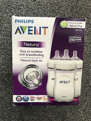 Philips Avent 3 Pack Of Bottles 1m+ 260ml 9oz Natural Style Brand New