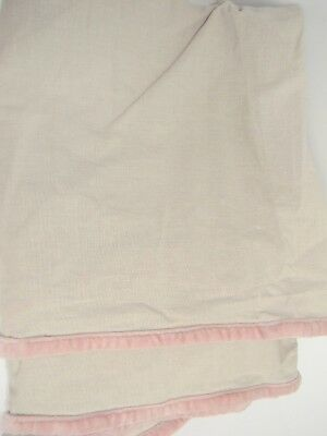 Restoration Hardware Linen Crib Skirt Beige w/Pink Velvet Trim Baby Nursery Girl