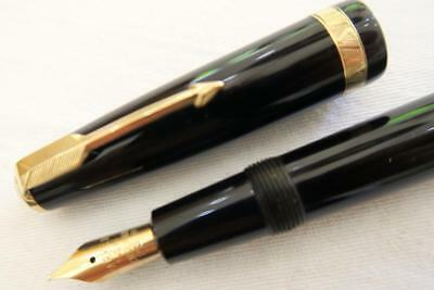 Parker Duofold Fountain Pen, Black, Aerometric 1952 Date Stamped Fully Serviced