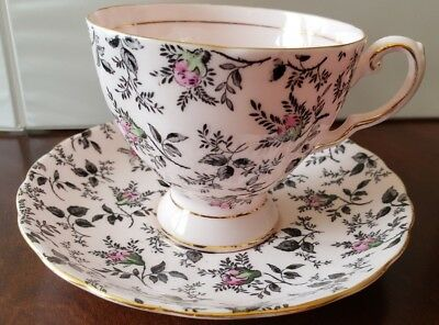 Vintage Tuscan Fine English Bone China Tea Cup And Saucer Pink and Gold