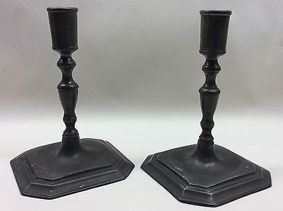 Extremely Rare Pair Mid 18th Century Pewter Candlesticks Taper Sticks 16th 17th