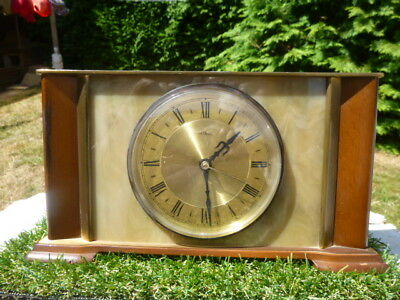 Metamec * Vintage * Heavy *  Brass Faced  * Mantle Clock * Good Working Working