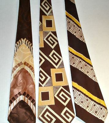 "MENs TIEs (3) ""SWING ERA NECKTIEs"" DECO GEOMETRIC ATOMIC ZOOT SUIT CRAVATs"