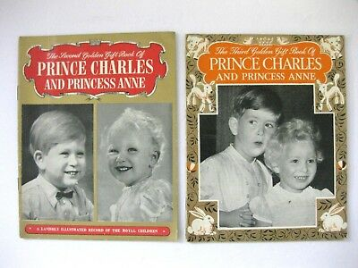 2 Prince Charles & Princess Anne Golden Gift Books Two & Three British Royalty
