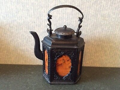 Chinese Ornate Metal 6 Sided Teapot With Painted Glass Inserts