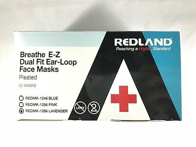 REDLAND Breath E-Z Earloop Face Mouth Mask 3 ply Disposable Dental Medical Dust
