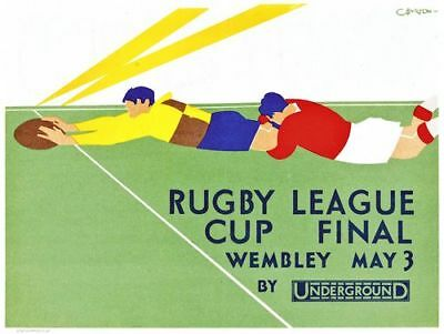 Vintage 1930 Rugby League Challenge Cup Final Poster A4/A3/A2/A1 Print