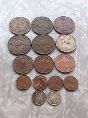 Foreign Coin Lot Australia Copper Silver 1915 - 1940's Few Modern BG40