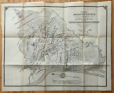 Civil War Map Shiloh Battlefield Major Reed Original 1900 Battle Artillery Rare!
