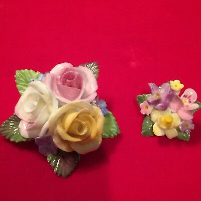 Vintage Bone China Flower Brooch Hand Painted Hallmarked Dorothy Ann English 2Pc