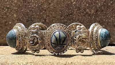 Antique Peruzzi Egyptian Revival Sterling Silver Carved Scarab Beetle Bracelet