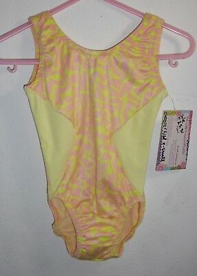 Gymnastics Leotard Sleeveless Lycra Printer & Yellow Child X-Small 2-4