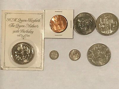 7 Coin Lot: 5 Queen Elizabeth (penny, 5 pound) and 2 King George (3 & 6 pence)