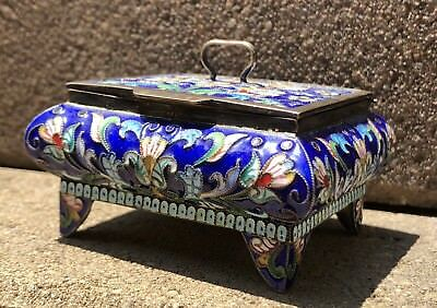 Antique Original Gilt Silver Russian Multi Color Enamel 84 Hallmark Box #5