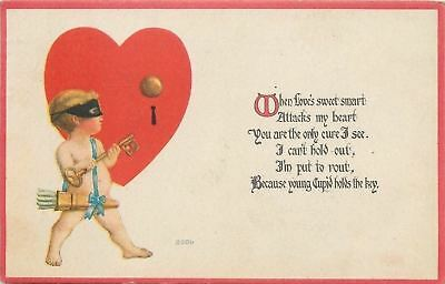 Valentine~Burglar Cupid~Black Mask~Heart: Door Knob~Keyhole~Skeleton Key~1919 PC
