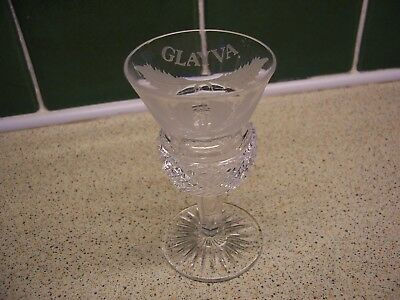 Glayva Small Glass Thistle Shaped Etched With Thistles And Leaves Around Top