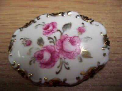 Rosenthal Marktredwitz Germania R Chiocca Lausanne Brooch With Pink Flowers