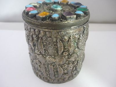 Stunning Large Rare Unique Vintage Gem-set Egyptian Hallmarked Solid Silver Box