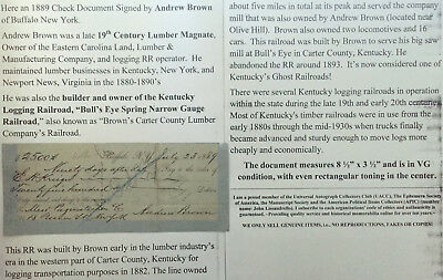 19th C LUMBER MAGNATE KENTUCKY LOGGING RAILROAD OWNER DOCUMENT SIGNED CHECK 1889