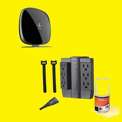 Alphaline TV Kit ZB200-B1- HDMI Cables, Surge Protector & BELKIN Router F9K1116