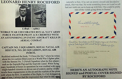 Ww I Decorated Royal Navy Army Force Fighter Pilot Ace 29 Kills Letter Signed +!