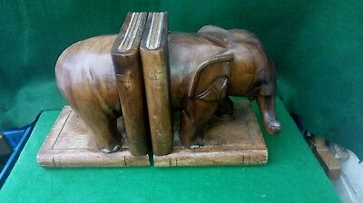 Large Hand Carved Wooden Elephant Bookends - Acacia Wood