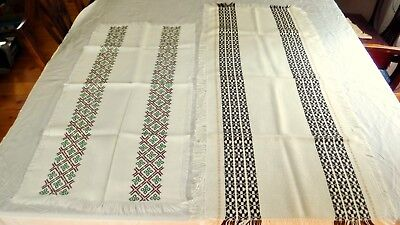 2 Vintage Table Runners Dress White Brown Green Weave Acrylic Lot