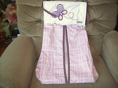 CoCaLo SUGAR PLUM Diaper Stacker Holder Purple Butterfly Checkered Pattern