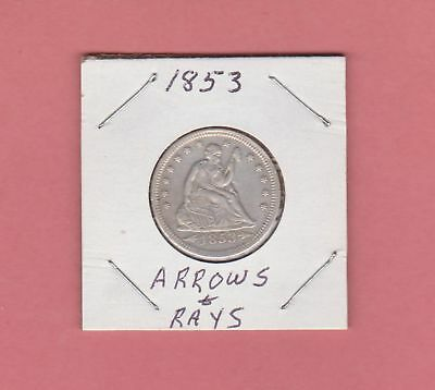 1853 25C Arrows and Rays Seated liberty Quarter