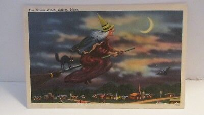 Vintage Postcard Of Salem Witch On Her Broom With Her Black Cat