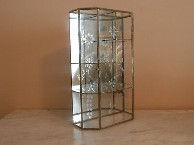 """Vintage Etched Floral Glass & Brass Mirror Curio Display Case Table Wall 13.25"""""""