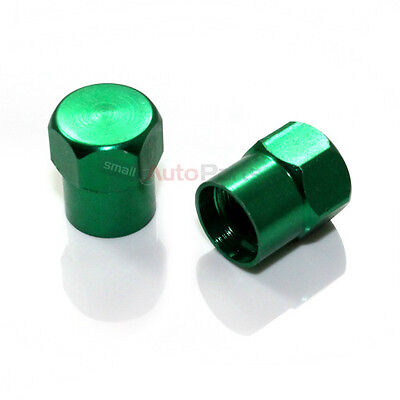 (2) Green Aluminum Tire/Wheel Air Stem Valve Metal CAPS for Motorcycle-Bicycle