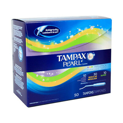 Tampax Pearl Plastic Tampons, Unscented, 50 each