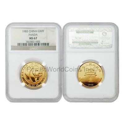 China 1983 Panda 50 Yuan 1/2 oz Gold Coin NGC MS67 SKU#3810