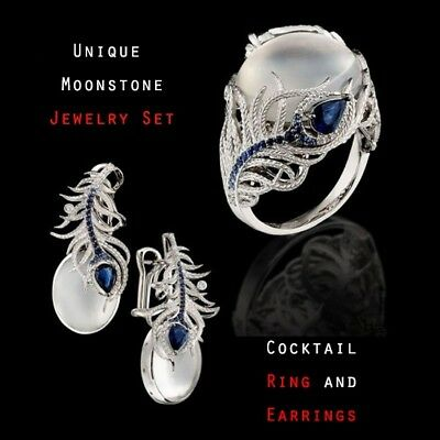 Women 925 Silver Jewelry Set Fashion Moonstone Feather Earrings Ring Size 6-10