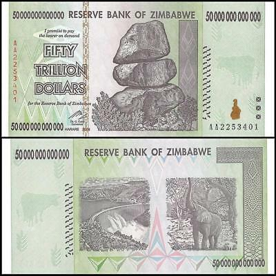 Zimbabwe 50 Trillion Dollars Uncirculated 2008Aa Authentic Note