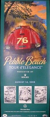 SIGNED Pebble Beach Concours 2008 Rolex Tour Poster LANCIA D24 Barry Rowe