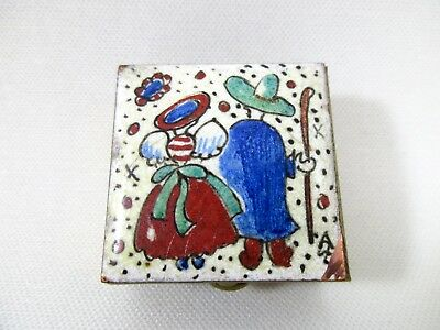 Vintage Hand Painted Enamel Brass Latching Pill Box
