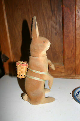 Rare Antique Flock Vintage German Paper Mache Rabbit With Basket Candy Container