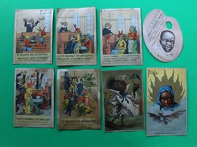Lot 1880S Victorian Trade Cards, Advertising Featuring Black People, Antique Art