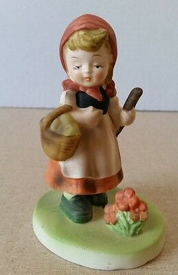 Vintage Flambro Collector's Choice Series Figurine Girl with Basket