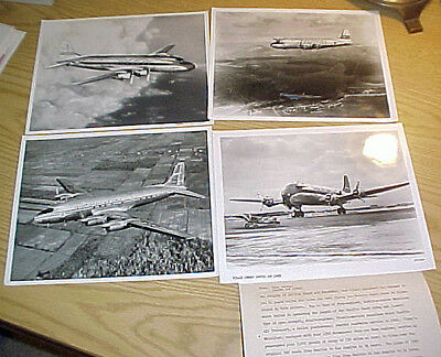 Lot of 4 original airliner promotional photos - DC-4s, 8 x 10 glossy b & w.