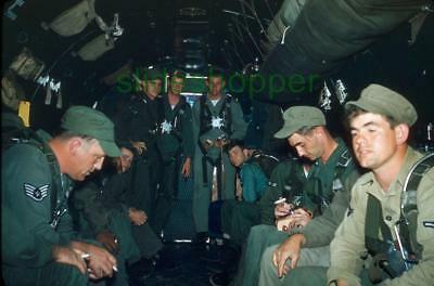 Slide Photo View Airmen Soldiers on USAF Douglas DC-3 C-47 Skytrain 1954 AK